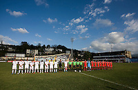 Panama and the United States stand at midfield during the group stage of the CONCACAF Men's Under 17 Championship at Jarrett Park in Montego Bay, Jamaica. The USA defeated Panama, 1-0.