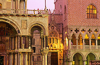 Italy. Venice, detail view of The Doge's Palace (Palazzo Ducale) and Basilica San Marco, Porta della carta