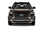 Car photography straight front view of a 2018 Hyundai Santa-Fe Limited-Ultimate-FWD 5 Door SUV Front View