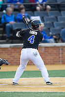 Mark Lumpa (4) of the Duke Blue Devils at bat against the Wake Forest Demon Deacons at Wake Forest Baseball Park on April 25, 2014 in Winston-Salem, North Carolina.  The Blue Devils defeated the Demon Deacons 5-2.  (Brian Westerholt/Four Seam Images)