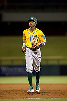 AZL Athletics second baseman Marcos Brito (13) jogs to the dugout between innings during a game against the AZL Cubs on August 9, 2017 at Sloan Park in Mesa, Arizona. AZL Athletics defeated the AZL Cubs 7-2. (Zachary Lucy/Four Seam Images)