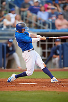 Tulsa Drillers shortstop Tim Locastro (15) swings at a pitch during a game against the Corpus Christi Hooks on June 3, 2017 at ONEOK Field in Tulsa, Oklahoma.  Corpus Christi defeated Tulsa 5-3.  (Mike Janes/Four Seam Images)