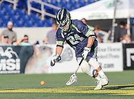 Annapolis, MD - July 7, 2018: Chesapeake Bayhawks Stephen Kelly (24) gets the ground ball during the game between New York Lizards and Chesapeake Bayhawks at Navy-Marine Corps Memorial Stadium in Annapolis, MD.   (Photo by Elliott Brown/Media Images International)