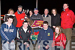 CUP: John Ward who presented the Kingdom Stadium Cup to Caroline Darcy Danaher after her dog No1 Darcy Pearl  won the 9th Race, the Kingdom Stadium 570 Sweepstakes Final on Saturday night. Pictured l-r: Darragh Mac Gearailt, Jamie Flannery, Adrian Rayel and Marie Danaker. Back l-r: Vonnie Flannery, John Ward (Manager of Kingdom Greyhound Stadium), Caroline Darcy-Danaker, Jimmy Flannery (Trainer), John Joe Healy, Joan Ni? Gearailt and Kieran Casey (Kingdom Greyhound Stadium).   Copyright Kerry's Eye 2008
