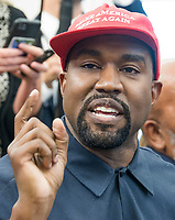 Kanye West makes a statement to the media as he meets with United States President Donald J. Trump and NFL legend Jim Brown in the Oval Office of the White House in Washington, DC on Thursday, October 11, 2018.<br /> Credit: Ron Sachs / CNP /MediaPunch