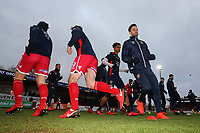 Stevenage players warm up during Stevenage vs Reading, Emirates FA Cup Football at the Lamex Stadium on 6th January 2018