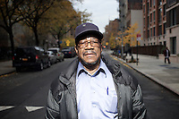 Mr Simeon Johnson, an HICAP attendee portrayed outside of The Gen Chauncey M. Hooper Towers, that hosts the Harlem Internet Computer Access program taught by instructor Merle Bush in Harlem, Manhattan, NY, USA on November 15, 2011.