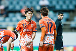 Jeju United Midfielder Moon Sangyun (L) talks to Jeju United Forward Ahn Hyunbeom (R) during the AFC Champions League 2017 Group Stage - Group H match between Jeju United FC (KOR) vs Adelaide United (AUS) at the Jeju World Cup Stadium on 11 April 2017 in Jeju, South Korea. Photo by Marcio Rodrigo Machado / Power Sport Images