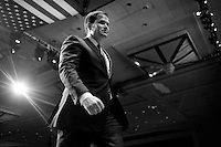 "UNITED STATES - MARCH 13: Sen. Marco Rubio, R-Fl., leaves after speaking at the 2013 Conservative Political Action Conference at the National Harbor. Rubio said that Republican Party doesn't need any new ideas in order to succeed: ""We don't need a new idea. The idea is called America, and it still works."" (Photo By Chris Maddaloni/CQ Roll Call)"