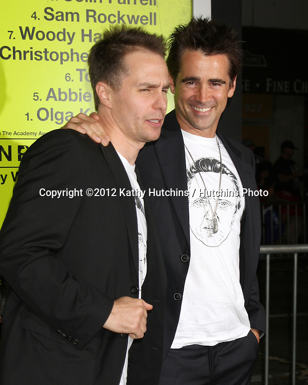 """LOS ANGELES - OCT 30:  Sam Rockwell, Colin Farrell  at the """"Seven Psychopaths"""" Premiere at Bruin Theater on October 30, 2012 in Westwood, CA"""