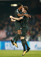 Football Soccer: UEFA Champions League Napoli vs Mabchester City San Paolo stadium Naples, Italy, November 1, 2017. <br /> Manchester City's John Stones (r) celebrates with his teammate Raheem Sterling (l) after scoring during the Uefa Champions League football soccer match between Napoli and Manchester City at San Paolo stadium, November 1, 2017.<br /> UPDATE IMAGES PRESS/Isabella Bonotto