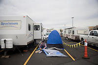 Visitors to the Pendleton Roundup were encouraged to camp in the parking lot of Wal-Mart in Pendleton, Oregon, USA.