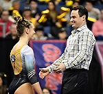 The SEC National Gymnastic Championship was held on Saturday March 24 at Chaifetz Arena on the Saint Louis University campus. Mizzou head gymnastics coach Shannon Welker talks to Morgan Porter prior to her competing in the floor competition.<br />