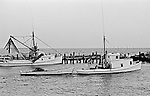 "Ambrose Fulcher, of Atlantic, built the LINDA (left) in 1939 for John Weston Smith, who named it for his daughter. The LINDA was constructed as a runboat to fetch fish caught by long-haulers, but in this photo she was rigged out as a shrimp boat. The WASTED WOOD was built in 1933 by Will Mason, also from Atlantic, for the long-haul fishing trade. In the 1950s Atlantic's Charles Smith acquired the boat, rebuilt her, and renamed the vessel the DAVID M. for his son. In 1979 John ""Buster"" Salter purchased the boat and fished her until the late 1990s, when she was abandoned in the marsh."