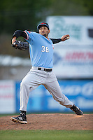 Hickory Crawdads relief pitcher Adam Choplick (38) in action against the Kannapolis Intimidators at Kannapolis Intimidators Stadium on April 10, 2016 in Kannapolis, North Carolina.  The Intimidators defeated the Crawdads 10-3.  (Brian Westerholt/Four Seam Images)
