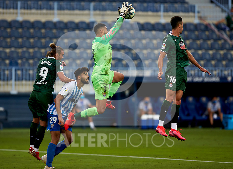 Munir (Malaga CF) blocks the ball during La Liga Smartbank match round 39 between Malaga CF and RC Deportivo de la Coruna at La Rosaleda Stadium in Malaga, Spain, as the season resumed following a three-month absence due to the novel coronavirus COVID-19 pandemic. Jul 03, 2020. (ALTERPHOTOS/Manu R.B.)
