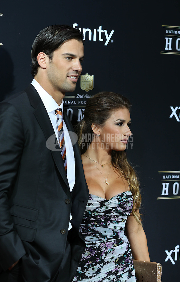 Feb. 2, 2013; New Orleans, LA, USA:  NFL player Eric Decker with fiancé Jessie James on the red carpet prior to the Super Bowl XLVII NFL Honors award show at Mahalia Jackson Theater. Mandatory Credit: Mark J. Rebilas-USA TODAY Sports