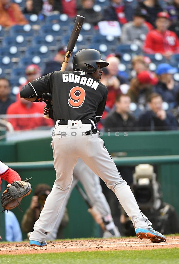 WASHINGTON, DC - April 6, 2017: Dee Gordon #9 of the Miami Marlins during a game against the Washington Nationals on April 6, 2017 at Nationals Park in Washington DC. The Marlins beat the Nationals 4-3.-(Chris Bernacchi/SportPics)