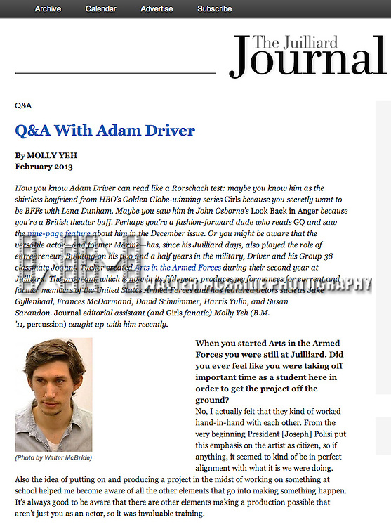 Adam Driver in 'The Juilliard Journal' August 2013