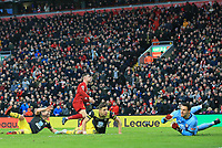 1st February 2020; Anfield, Liverpool, Merseyside, England; English Premier League Football, Liverpool versus Southampton; Jordan Henderson of Liverpool celebrates after scoring to give his side a 2-0 lead after 60 minutes
