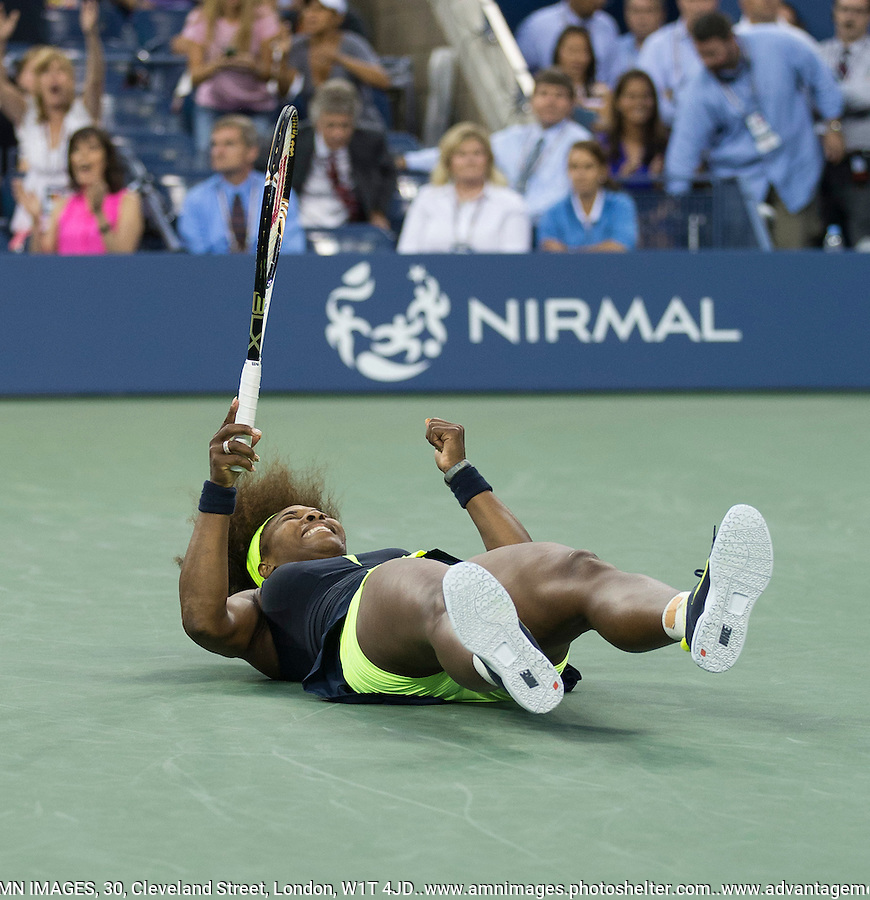 Serena Williams..Tennis - US Open - Grand Slam -  New York 2012 -  Flushing Meadows - New York - USA - Saturday 8th September  2012. .© AMN Images, 30, Cleveland Street, London, W1T 4JD.Tel - +44 20 7907 6387.mfrey@advantagemedianet.com.www.amnimages.photoshelter.com.www.advantagemedianet.com.www.tennishead.net