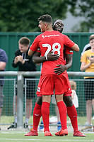 James Alabi of Leyton Orient is congratulated after scoring the fifth goal during Harlow Town vs Leyton Orient, Friendly Match Football at The Harlow Arena on 6th July 2019
