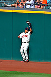 14 September 2008: Cleveland Indians' outfielder Franklin Gutierrez makes a catch at the wall in the 6th inning against the Kansas City Royals at Progressive Field in Cleveland, Ohio. The Royal defeated the Indians 13-3 to take the 4-game series three games to one...Mandatory Photo Credit: Ed Wolfstein Photo