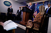 US President Donald J. Trump responds to a question from the news media during a press conference at the White House in Washington, DC, USA, 18 September 2020.<br /> Credit: Shawn Thew / Pool via CNP