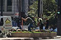 SAO PAULO, 12 DE FEVEREIRO DE 2013. - CANTEIRO AVENIDA PAULISTA -  Homens trabalham em canteiro central da Avenida Paulista, na manha desta quarta feira, 13, regiao central da capital. (FOTO: ALEXANDRE MOREIRA / BRAZIL PHOTO PRESS).