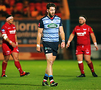 Alex Cuthbert of Cardiff Blues in action during the Guinness PRO14 match between Scarlets and Cardiff Blues at Parc Y Scarlets Stadium, Llanelli, Wales, UK. Saturday 28 October 2017