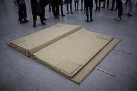 """Berlin, Kunstwerk von Franz Erhard Walther, """"Großes Stoffbuch, 1969"""" beim Ausstellung """"Body Pressure, Skulptur seit den 1960er Jahren"""" am Freitag (24.05.13) in Nationalgalerie Hamburger Bahnhof, Museum für Gegenwart, Berlin."""