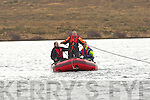 Members of Killarney Water rescue drag their nets in the search for Neilie O'Connor on Loch Gaineamhaim, Cromane on Monday