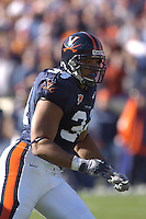 19 November 2005: Virginia LB Ahmad Brooks (34).The Virginia Tech Hokies defeated the Virginia Cavaliers 52-14 for the Commonwealth Cup at Scott Stadium in Charlottesville, VA.