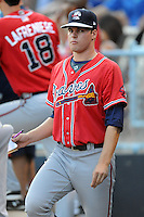 Rome Braves pitcher Jason Hursh #45 during a game against the Asheville Tourists at McCormick Field on July 25, 2013 in Asheville, North Carolina. The Tourists won the game 9-6. (Tony Farlow/Four Seam Images)