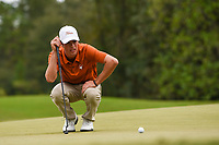 Cole Hammer (a)(USA) looks over his putt on 10 during round 4 of the 2019 Houston Open, Golf Club of Houston, Houston, Texas, USA. 10/13/2019.<br /> Picture Ken Murray / Golffile.ie<br /> <br /> All photo usage must carry mandatory copyright credit (© Golffile | Ken Murray)