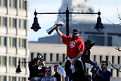 5th February 2019, Boston, Massachusetts, USA;  New England Patriots wide receiver Julian Edelman (11) hoists the Vince Lombardi trophy during the New England Patriots Super Bowl Victory Parade on February 5th 2019, through the streets of Boston, Massachusetts.