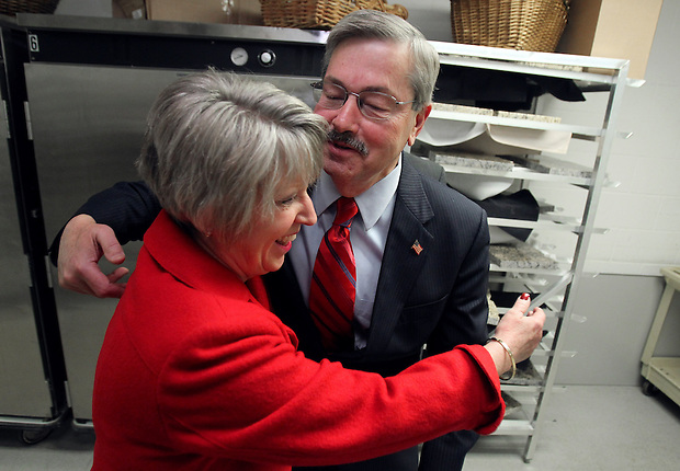 With his victory speech in hand, governor-elect Terry Branstad is embraced by his wife, Chris, backstage before joining a throng of supporters at the Republican party election night rally at the Hy-Vee Conference Center in West Des Moines on Tuesday night, November 2, 2010.