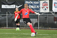 Piscataway, NJ, May 13, 2016. Boston Breakers goalkeeper Libby Stout (1) controls the ball in her penalty area. Sky Blue FC defeated the Boston Breakers, 1-0, in a National Women's Soccer League (NWSL) match at Yurcak Field.