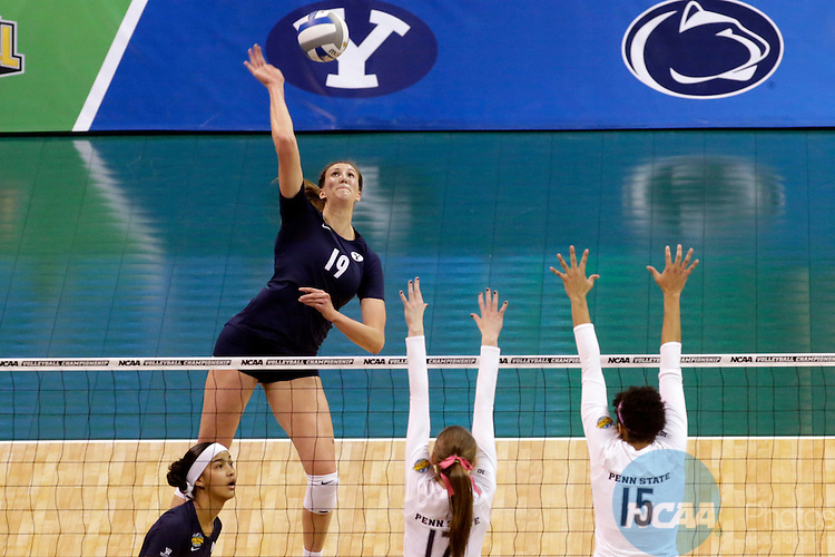 20 DEC 2014: Brigham Young University takes on Penn State University during the Division I Women's Volleyball Championship at Chesapeake Energy Arena in Oklahoma City, OK. Penn State defeated BYU 3-0 to claim the championship title. Shane Bevel/NCAA Photos