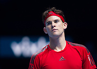 Dominic Thiem of Austria (4) in action during his defeat by Gregor Dimitrov of Bulgaria (6) in the Group Pete Sampras Match today - Dimitrov def Thiem 6-3, 5-7, 7-5<br /> <br /> Photographer Ashley Western/CameraSport<br /> <br /> International Tennis - Nitto ATP World Tour Finals - O2 Arena - London - Day 2  - Monday 13th November 2017<br /> <br /> World Copyright &not;&copy; 2017 CameraSport. All rights reserved. 43 Linden Ave. Countesthorpe. Leicester. England. LE8 5PG - Tel: +44 (0) 116 277 4147 - admin@camerasport.com - www.camerasport.com