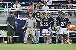 DURHAM, NC - APRIL 28: Notre Dame head coach Kevin Corrigan. The Duke University Blue Devils played the University of Notre Dame Fighting Irish on April 28, 2017, at Koskinen Stadium in Durham, NC in a 2017 ACC Men's Lacrosse Tournament Semifinal match. Notre Dame won the game 7-6.