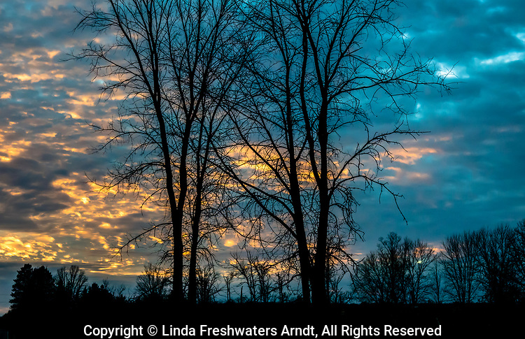 The last of rays of sunlight filtering through the November sky in northern Wisconsin.