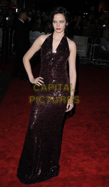 "EVA GREEN.The Times BFI 53rd London Film Festival Gala screening of ""Cracks"" at the Vue West End cinema, Leicester Square, London, England..October 25th 2009.LFF full length red burgundy maroon sequined sequins long maxi halterneck dress hand on hip.CAP/CAN.©Can Nguyen/Capital Pictures."