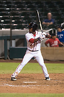 Salt River Rafters center fielder Daniel Johnson (7), of the Washington Nationals organization, at bat during an Arizona Fall League game against the Scottsdale Scorpions at Salt River Fields at Talking Stick on October 11, 2018 in Scottsdale, Arizona. Salt River defeated Scottsdale 7-6. (Zachary Lucy/Four Seam Images)