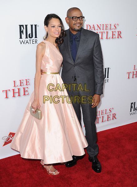 Keisha Nash &amp; Forest Whitaker<br /> &quot;Lee Daniels' The Butler&quot; Los Angeles Premiere held at Regal Cinemas L.A. Live, Los Angeles, California, USA.        <br /> August 12th, 2013    <br /> full length pink dress grey gray suit jacket blue shirt glasses married husband wife <br /> CAP/DVS<br /> &copy;DVS/Capital Pictures