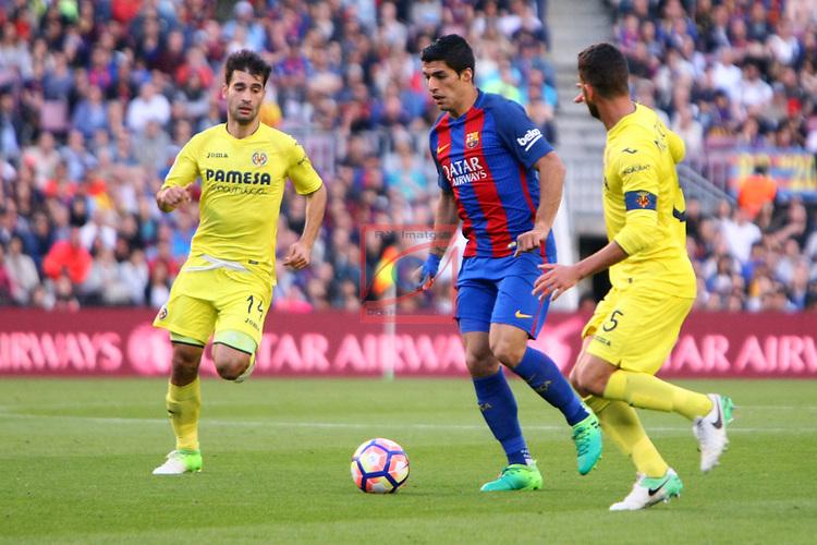 League Santander 2016/2017. Game: 36.<br /> FC Barcelona vs Villarreal CF: 4-1.<br /> Trigueros, Luis Suarez &amp; Musacchio.