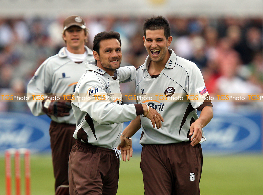 Jade Dernbach of Surrey (right) celebrates the wicket of Mark Pettini with Mark Ramprakash - Essex Eagles vs Surrey Brown Caps - Twenty 20 Cup at Ford County Ground, Chelmsford, Essex - 20/06/08 - MANDATORY CREDIT: Gavin Ellis/TGSPHOTO - Self billing applies where appropriate - Tel: 0845 094 6026