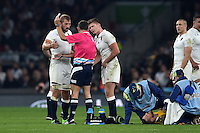 Owen Farrell of England is shown a yellow card by referee Romain Pote. Rugby World Cup Pool A match between England and Australia on October 3, 2015 at Twickenham Stadium in London, England. Photo by: Patrick Khachfe / Onside Images