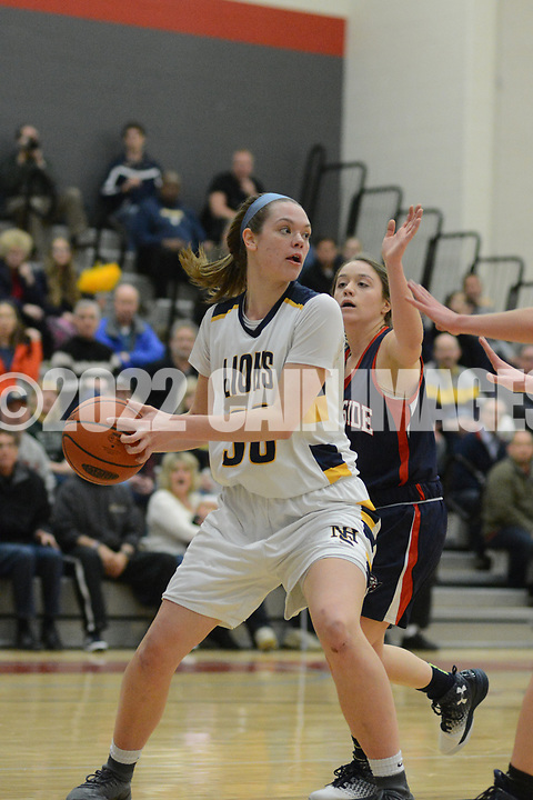 New Hope Solebury's Alana Davidson (30) drives towards the basket as Riverside's defense attacks in the first quarter Saturday, March 11, 2017 at Upper Dublin High School in Ft. Washington, Pennsylvania. (Photo by William Thomas Cain)