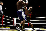 Nederland, Amsterdam, 15 oktober  2012.Seizoen 2012-2013.Ben Bril Memorial Carre Amsterdam.Innocent Anyanwu is een Nederlands bokser van Nigeriaanse komaf..in actie tegen Ruddy Encarnacion